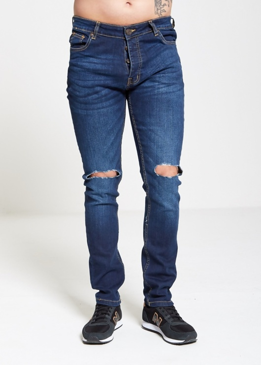 Mens Brave Soul Knee Ripped Straight Leg Jeans