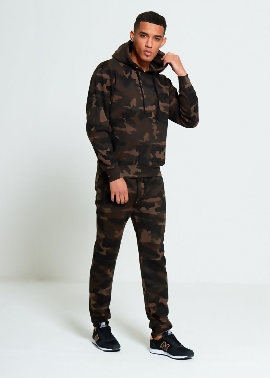 Mens Camo Pullover Skinny Fit Tracksuit