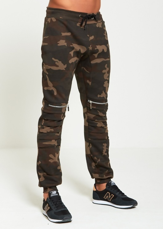 Mens Camo Ribbed Zipper Jogging Bottoms