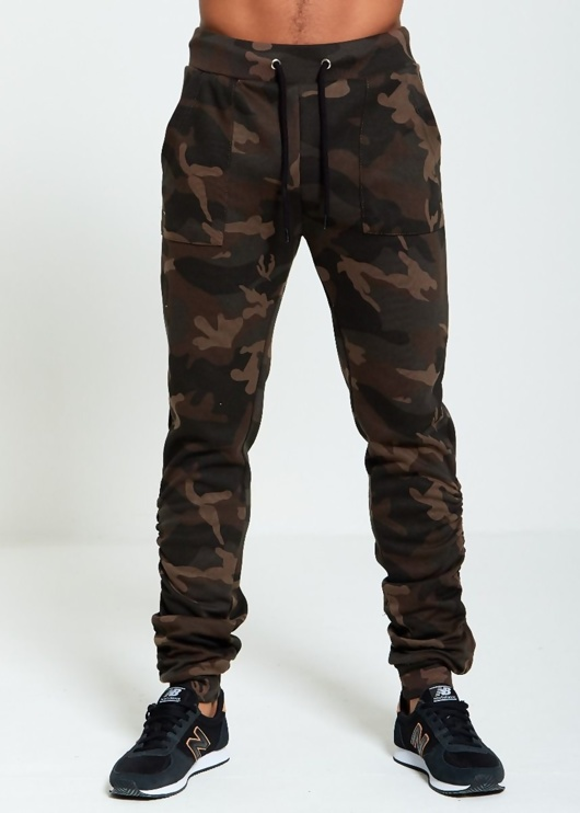Mens Camo Ruched Skinny Joggers