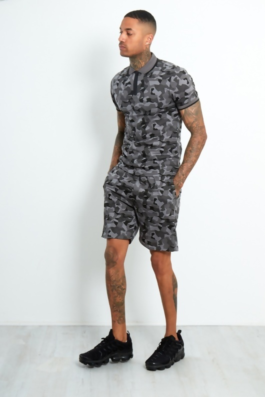 Mens Charcoal Camo Polo Zipper Shorts Set