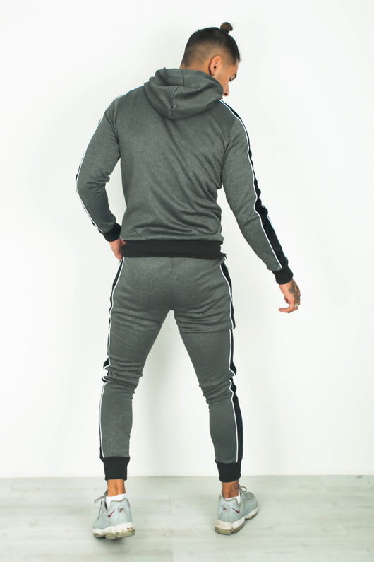 Mens Charcoal Skinny Fit Velvet Stripes Tracksuit