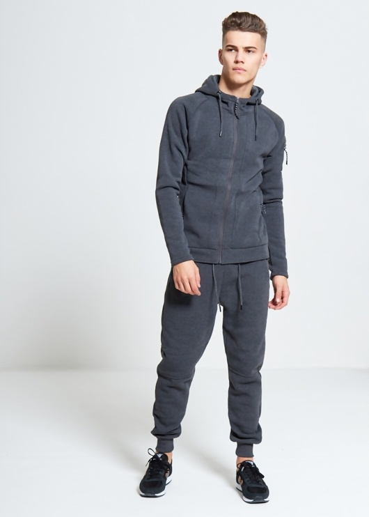 Mens Charcoal Zip Through Hooded Tracksuit