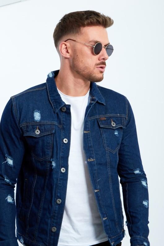 Mens Distressed Dark Denim Jacket