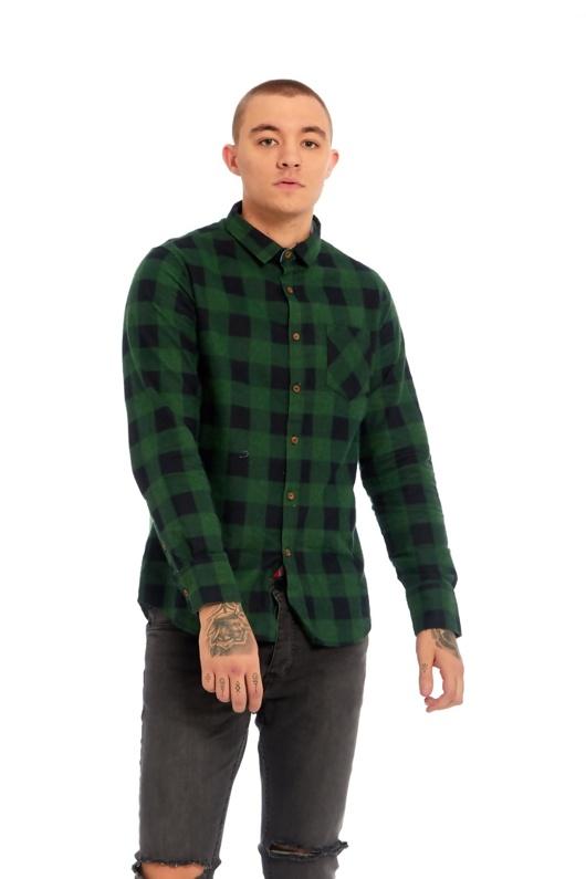 Mens Green And Black Checked Shirt