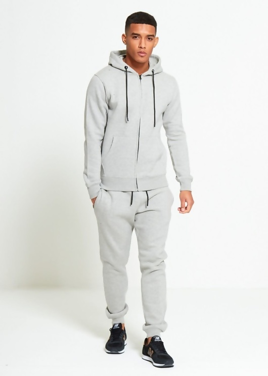 Mens Grey Block Hooded Tracksuit