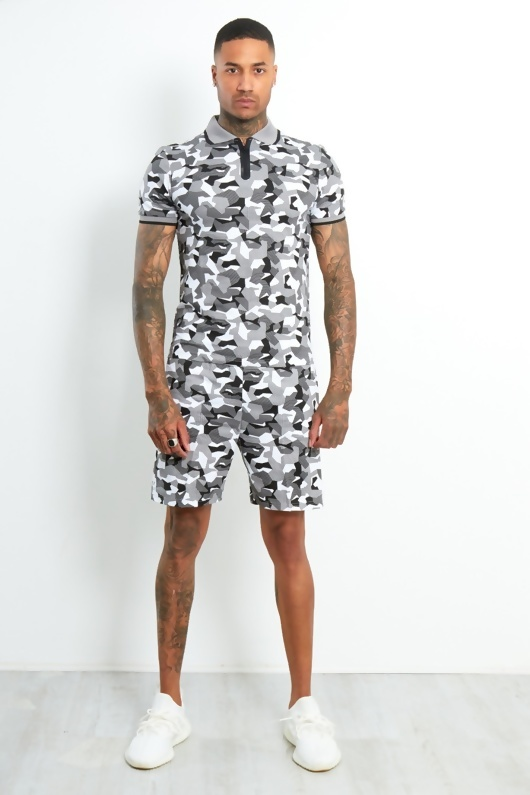 Mens Grey Camo Polo Zipper Shorts Set