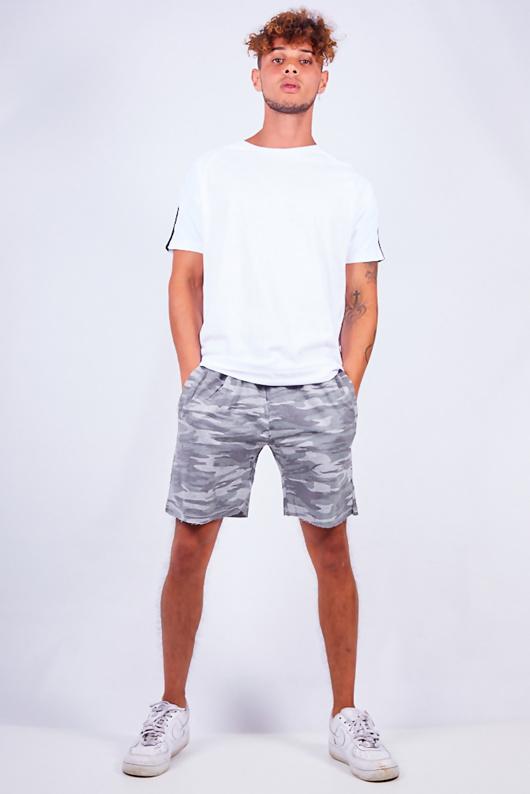 Mens Grey Camouflage Print Jersey Shorts