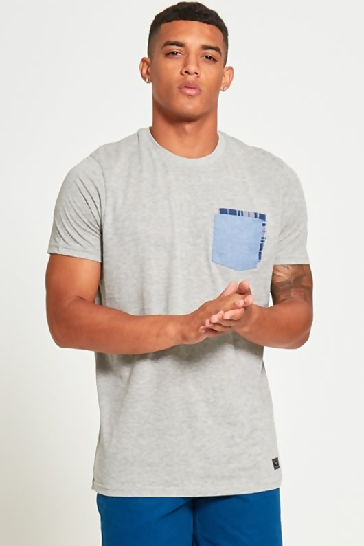 Mens Grey Double Pocket T-Shirt