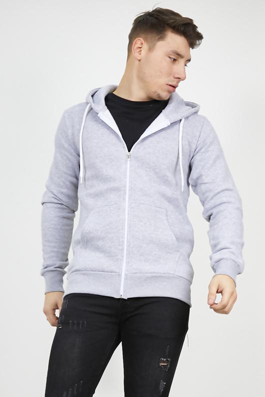 Mens Grey Fleece Zip Up Hoody