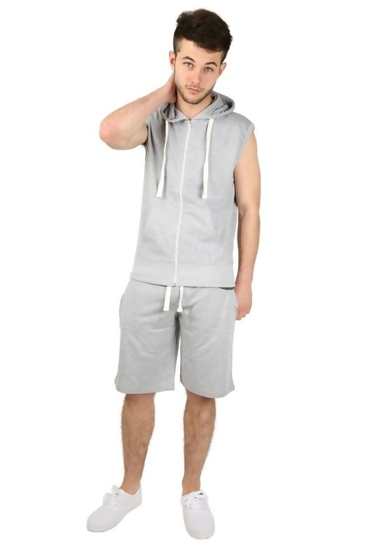 Mens Grey Sleeveless Hooded Short Set