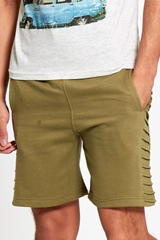 Mens Khaki Side Ribbed Sweat Shorts