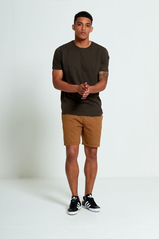 Mens Khaki Zip Detail T-shirt
