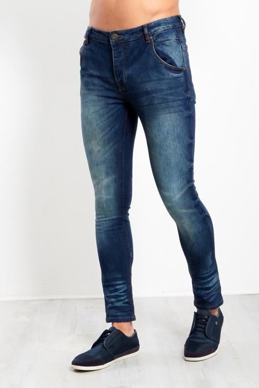 Mens Mid Blue Washed Denim Skinny Jeans