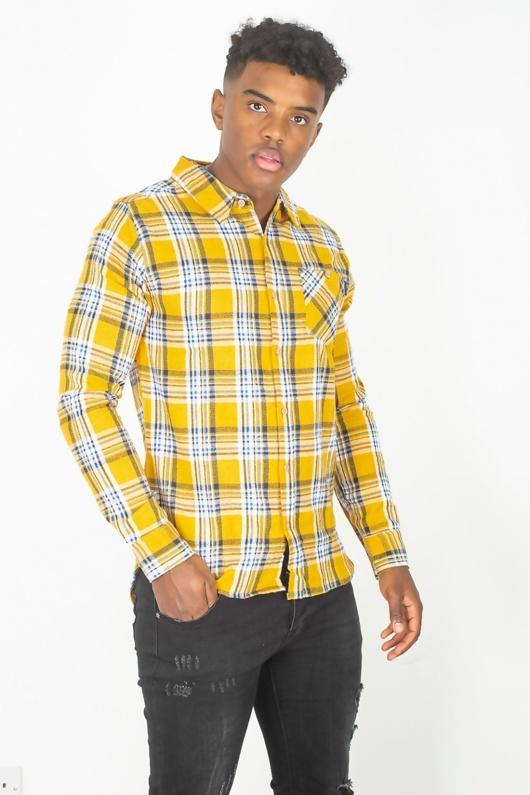Mens Mustard Check Button Up Shirt