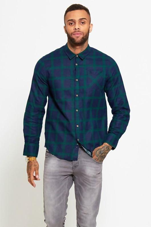 Mens Navy and Green Checked Shirt