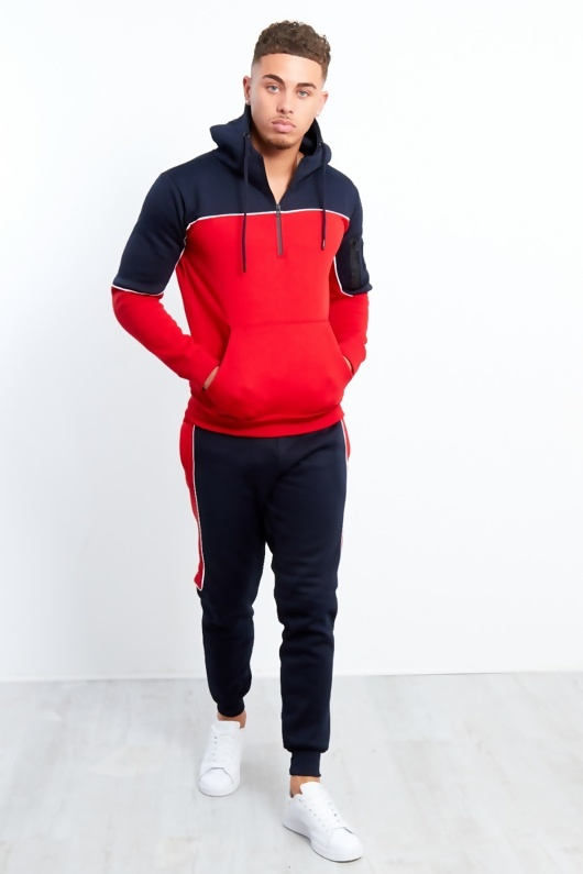 Mens Navy And Red Blocked Pull Through Tracksuit