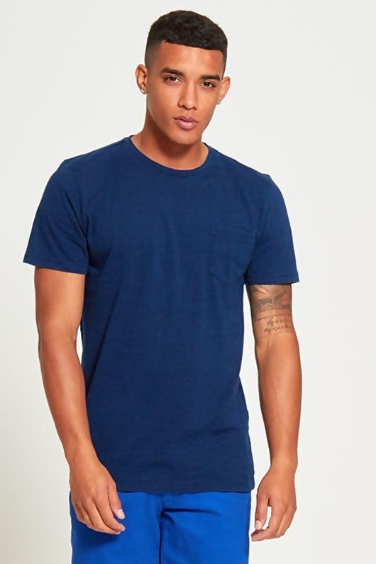 Mens Navy Basic Denim Pocket T-Shirt