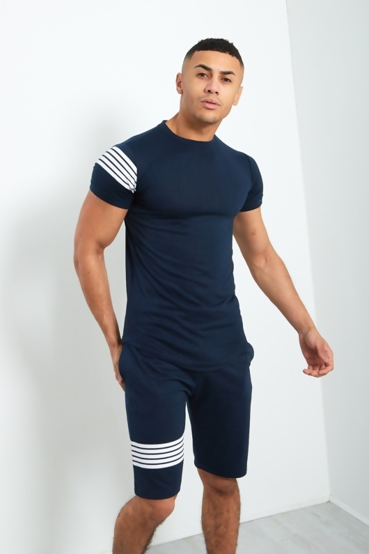 Mens Navy Crew Neck Shorts Set With Contrast Stripe