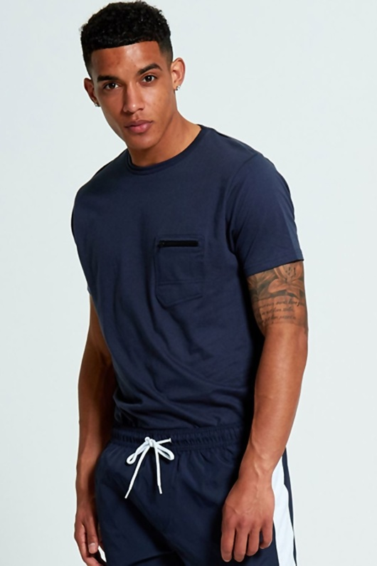 Mens Navy Zip Pocket T-Shirt