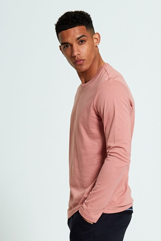 Mens Peach Long Sleeve T-shirt