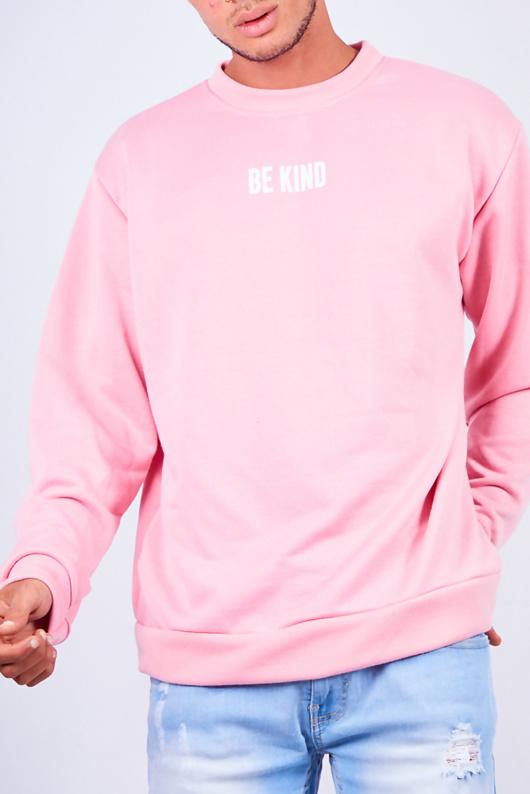 Mens Pink Be Kind Slogan Jumper
