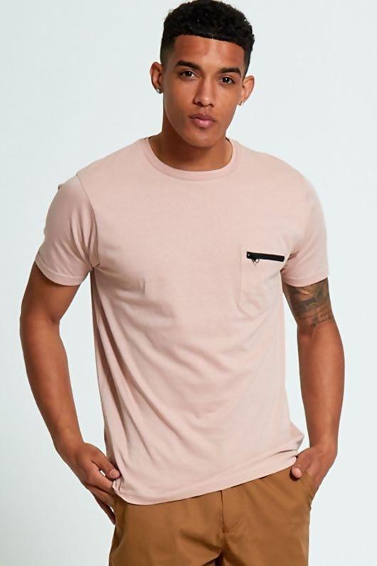 Mens Pink Zip Pocket T-Shirt