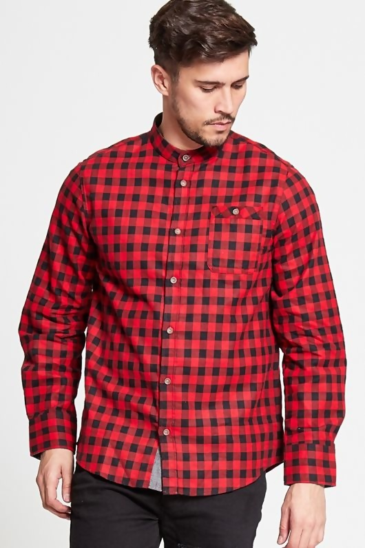 Mens Red and Black Mini Checked Shirt