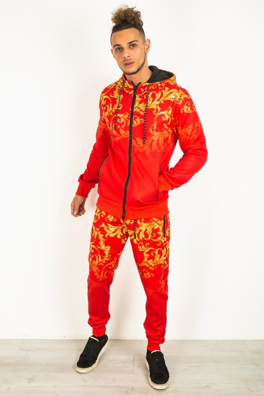 Mens Red Baroque Print Skinny Fit Tracksuit