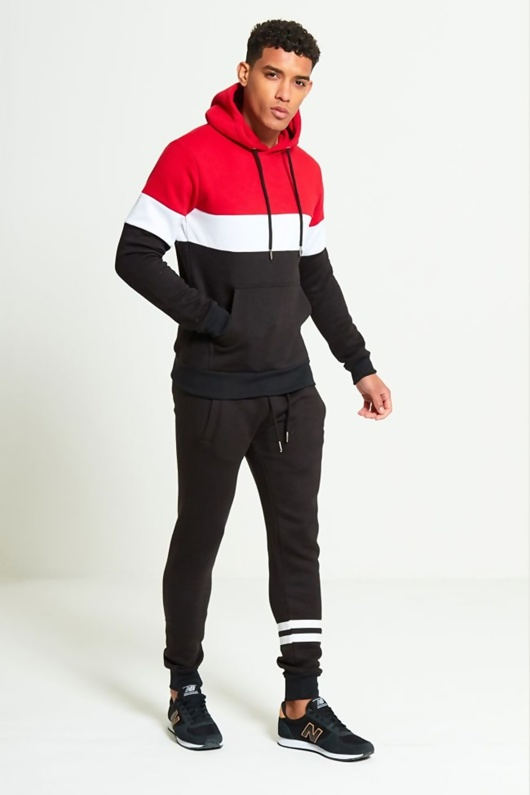 new appearance lower price with get cheap Mens Red Loungewear Tracksuit With Contrasting Panel Detailing