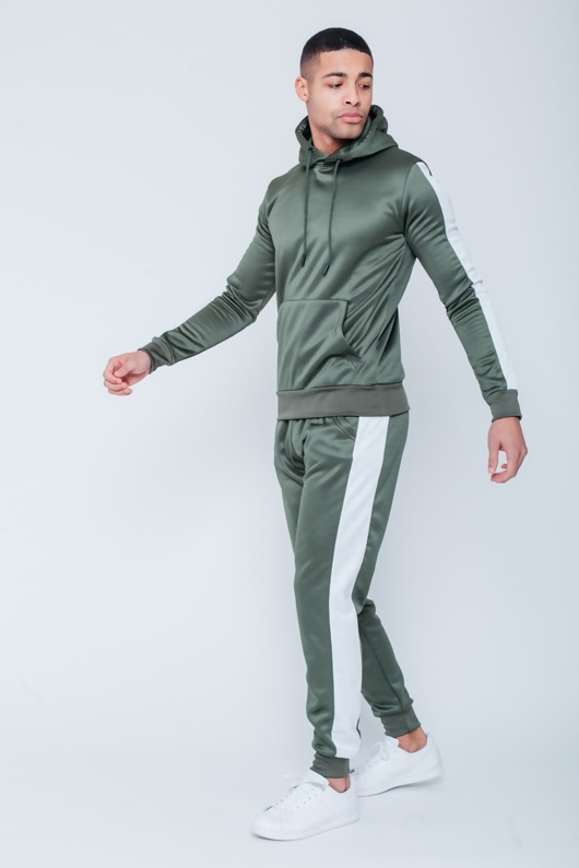 Mens Sage Green Pull Through Contrast Tape Hooded Tracksuit