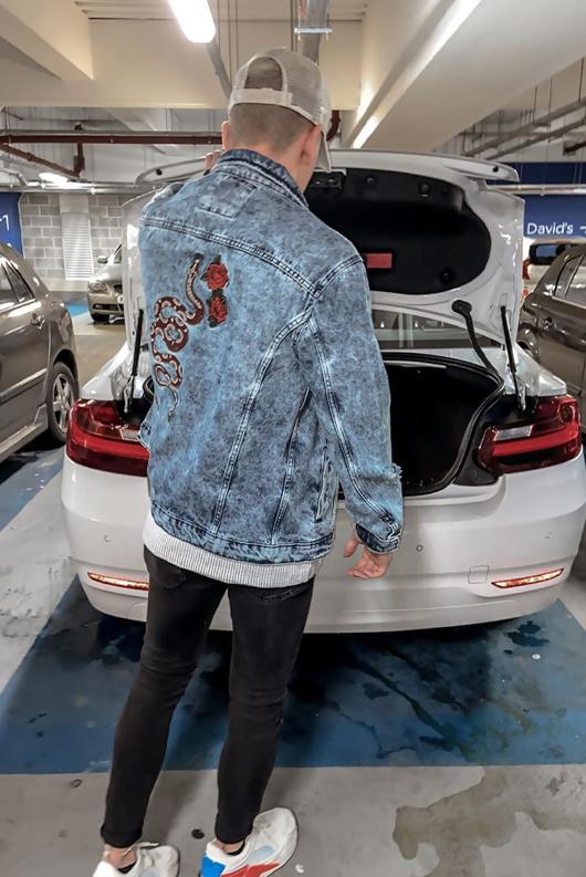 Mens Snake Embroidered Distressed Denim Jacket