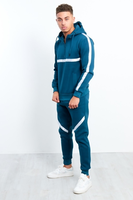 Mens Teal White Stripe Pull Through Hooded Tracksuit
