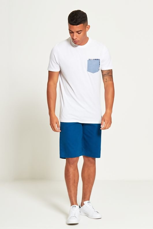 Mens White Double Pocket T-Shirt