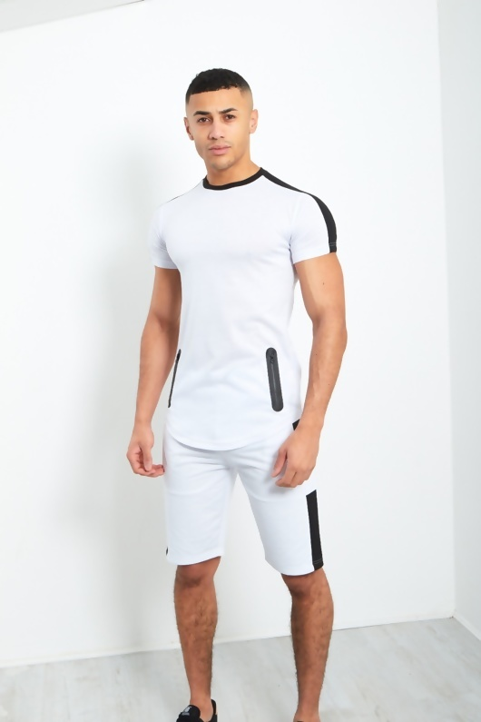 Mens White Side Contrast Panel T-Shirt And Shorts Set
