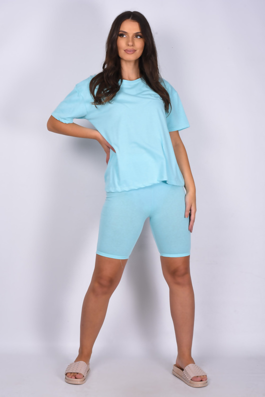 Mint Oversized T-shirt And Cycling Shorts Lounge Set