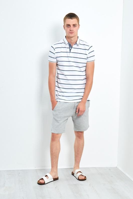 Mens White Classic 3 Buttons Multi Stripe Polo Shirt