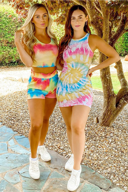 Multi Tie Dye Crop Top And Shorts Set