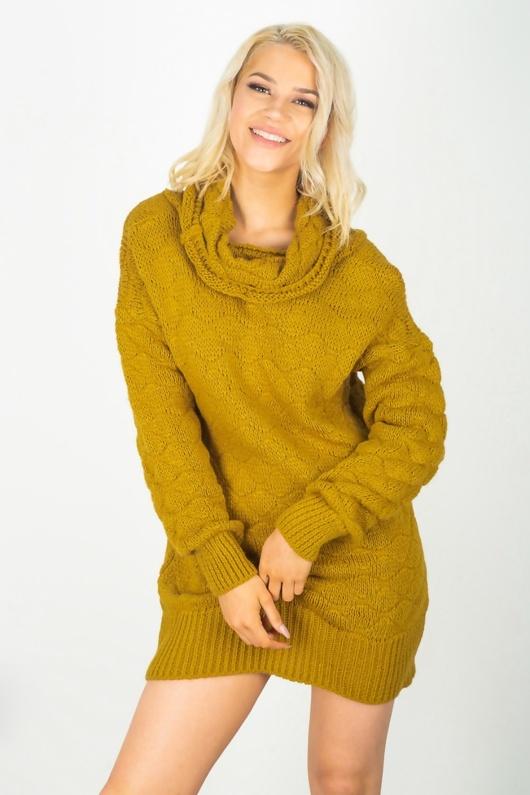 Mustard Cowl Neck Bobble Knit Jumper Dress