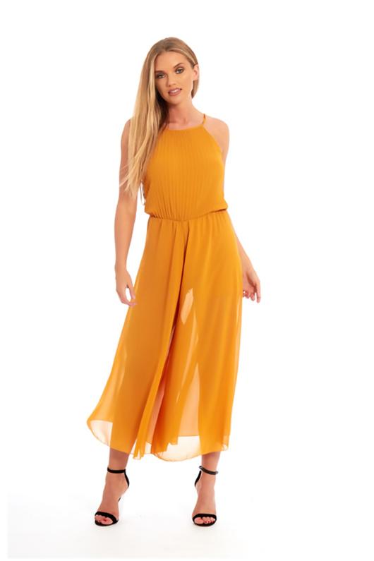 mustard ruffle jumpsuit