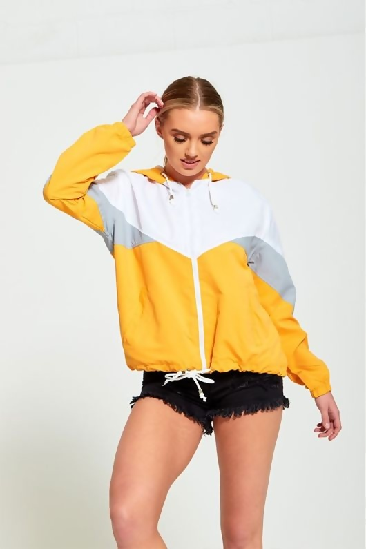 Mustard Zip Through Hooded Jacket
