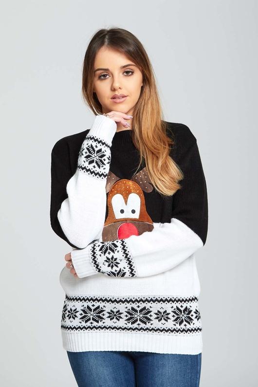 Black Reindeer Christmas Jumper with Snowflake Pattern