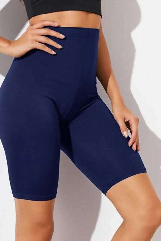 Navy Basic High Waisted Cycle Shorts