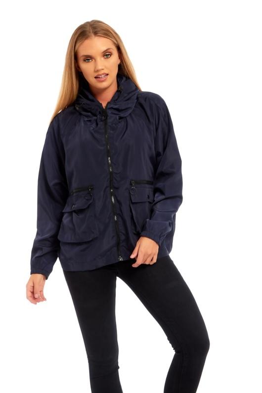 Navy Crop Cagoule Jacket