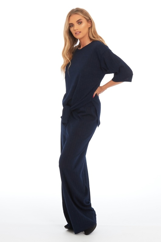 Navy Knot Front Top And Pants Set