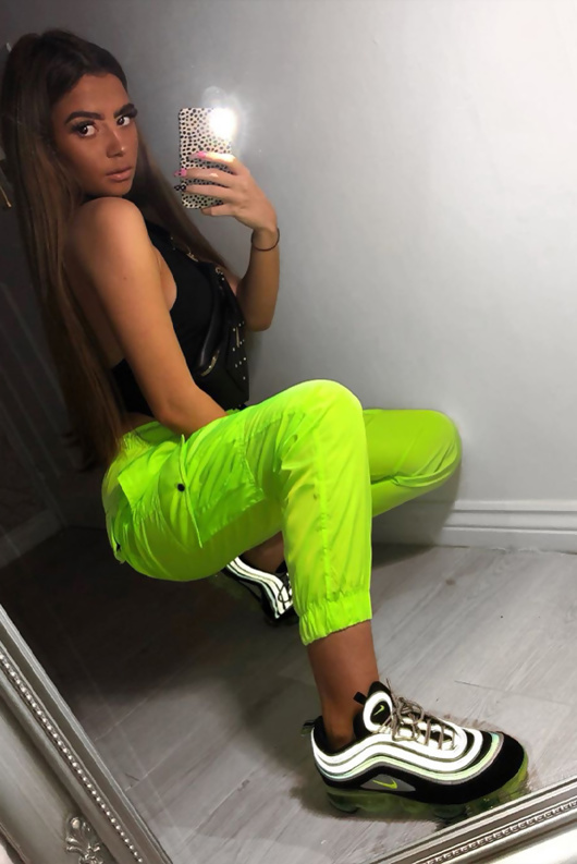 Neon Lime Cargo Detail Joggers