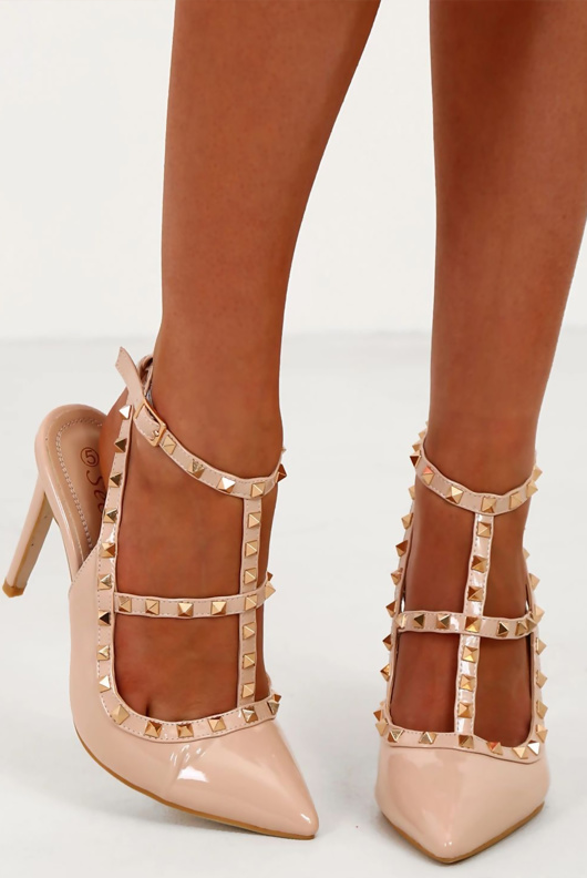 Nude Multi Strap T-Bar Studded Court Heels