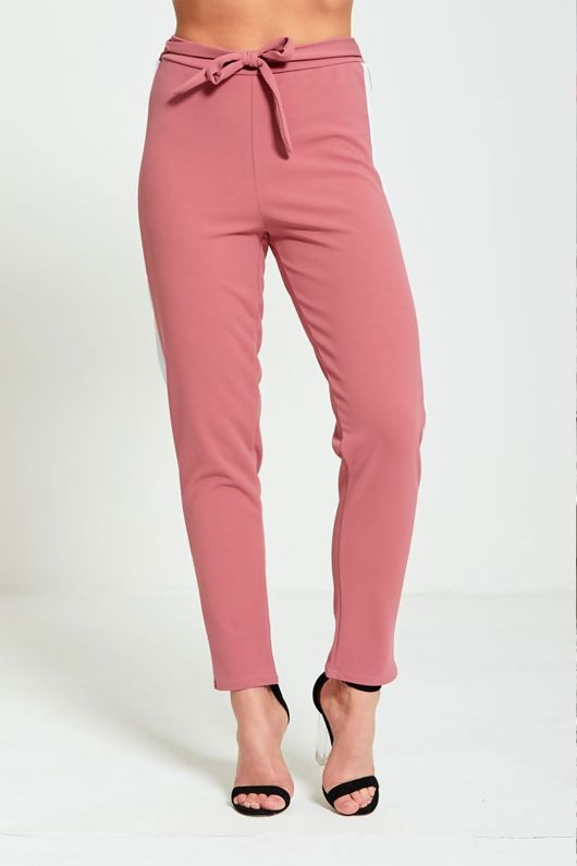 Nude Tapered White Panel Trousers