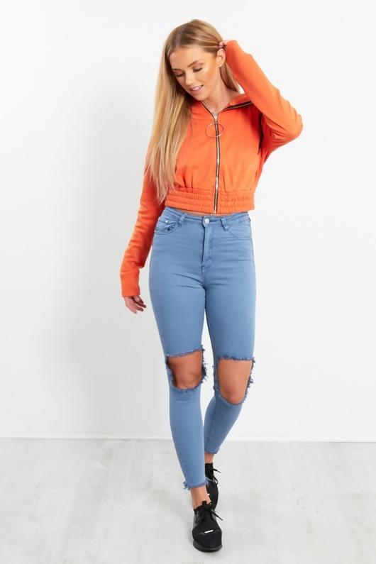 Orange Crop Ring Zip-up Hood Jacket