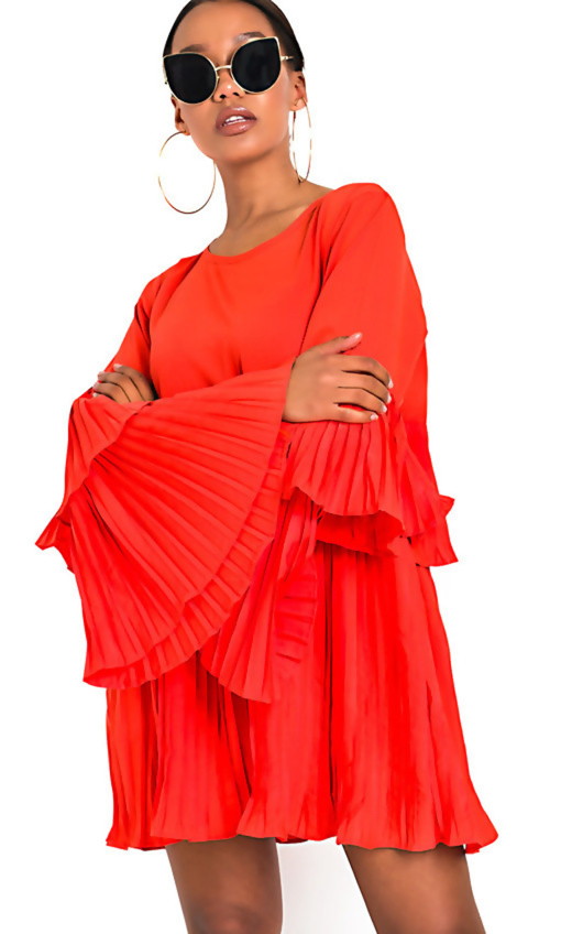 Orange Pleated Ruffle Mini Dress